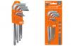 """Набор ключей """"HEX"""" 9 шт.: 1.5-10 мм, длинные с шаром, (держатель в блистере)"""