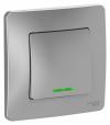 Выключатель 1-кл. СП BLANCA алюминий 10A 250B с подсветкой